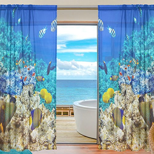 Floral Underwater Corals Tropical Fish Semi Sheer Curtains Window Voile Drapes Panels Treatment-55x78in for Living Room Bedroom Kids Room, 2 Pieces