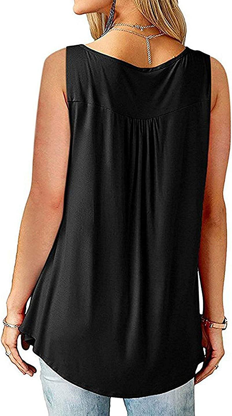 Womens Tops V Neck Sleeveless Summer Casual Vest Work Tank Top Ladies T Shirts