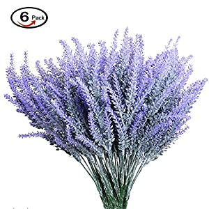 Artificial Lavender Flowers, Hspoepro Lavender Bouquet in Purple Artificial Plant for Home DIY Decor, Wedding, Garden, Office Decor, 6 Bundles 45