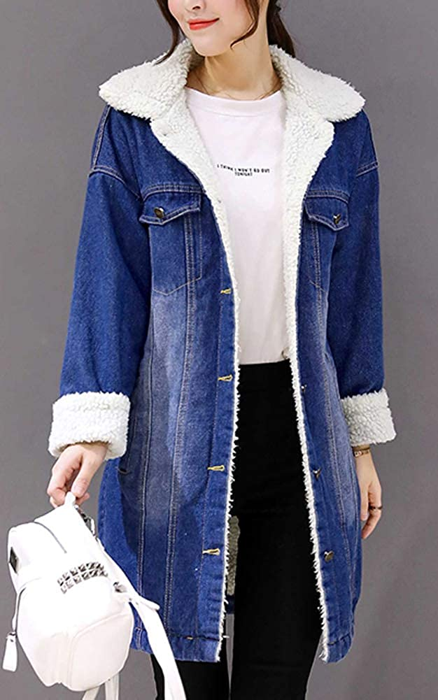 Hotmiss Womens Mid Long Thick Warm Sherpa Lined Denim Trucker Jacket Windbreaker