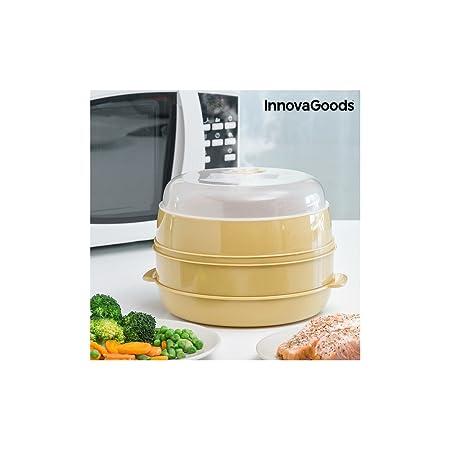 InnovaGoods Vaporera Doble para Microondas, PVC, Beige, 20x20x17 cm