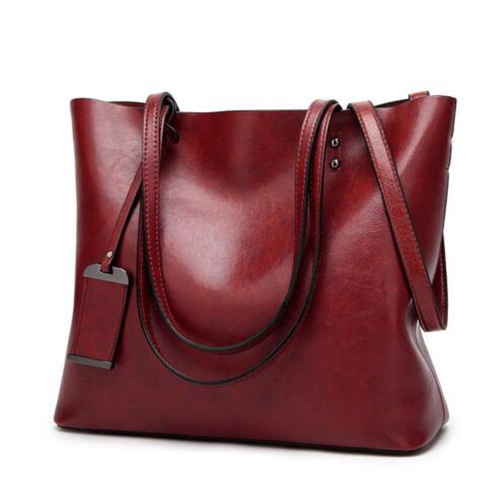 Women Shoulder Bags Zipper Handbags for Women Top Handle Bag Tote Bags by YUNS (Wine Red)