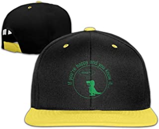 RGFJJE Cappellini Baseball Caps Hip Hop Hat Dinosaur - Dinosaur If You Are Happy And You KN Boys-Girl
