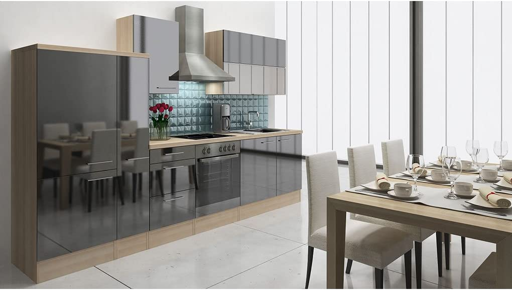 respekta Premium Instalación de Cocina Cocina 310 cm Acacia Negro Nevera congelador Combinado 144 cm & vitrocerámica: Amazon.es: Hogar
