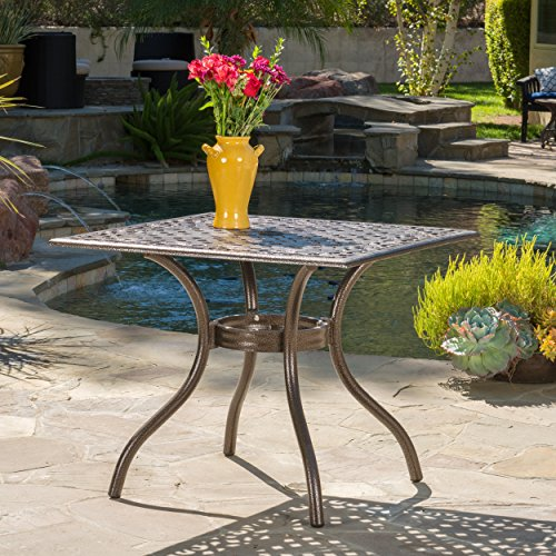 Monteria Bronze Cast Aluminum Square Table (Aluminum Patio Cast Square Furniture)