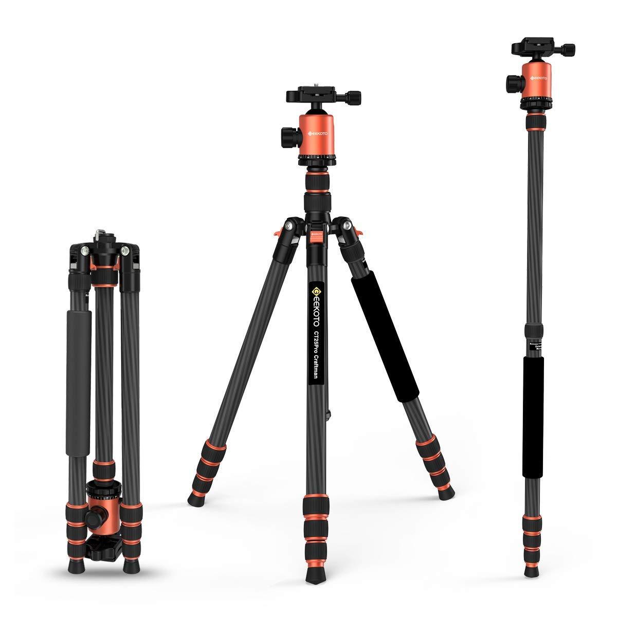 GEEKOTO 79インチカーボンファイバーカメラ三脚一脚 360度ボールヘッド付き 1/4インチクイックシュープレート デジタル一眼レフカメラ用バッグ プロフェッショナル三脚用 最大26.5ポンド (CT25Pro)   B07H7GH9HR