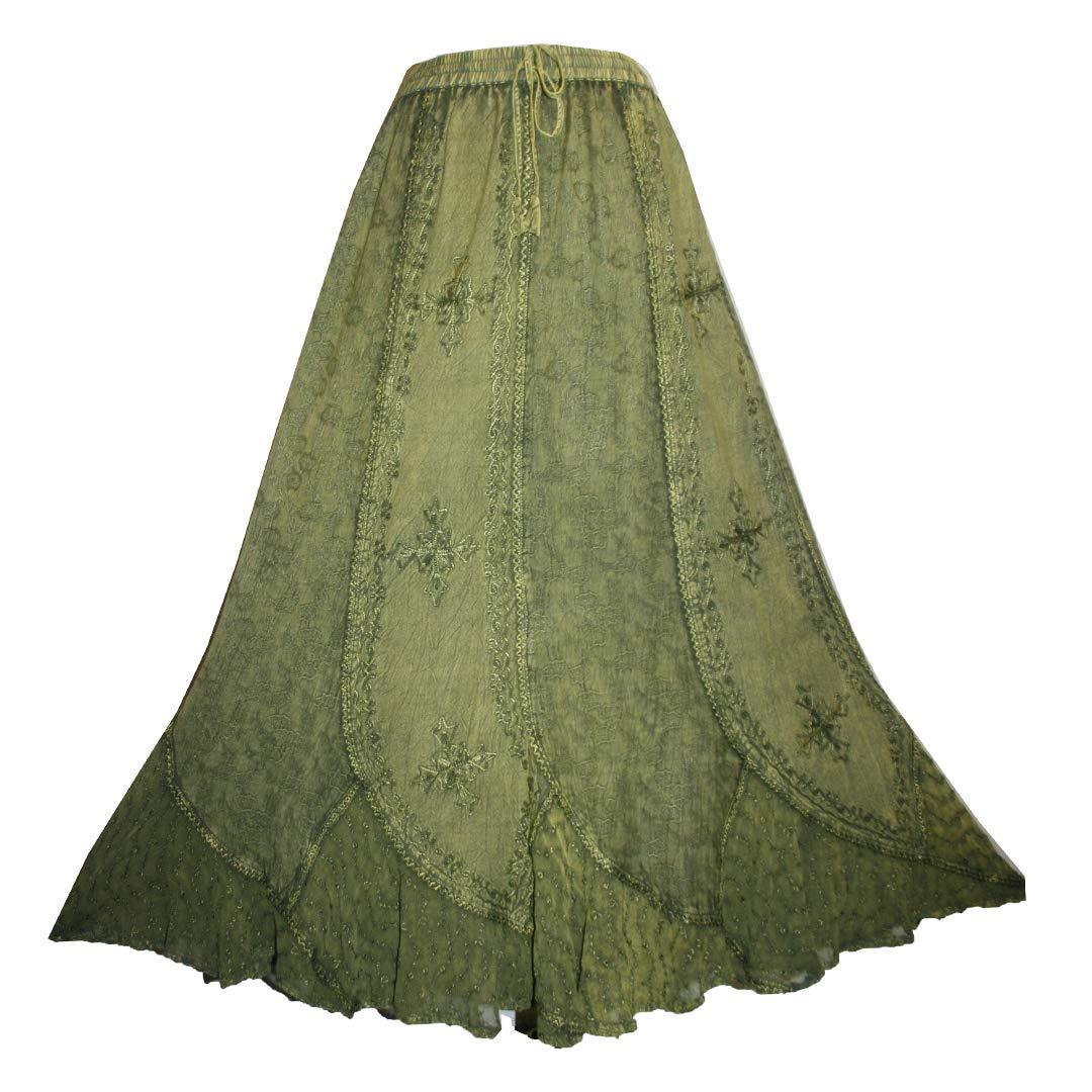 Agan Traders 711 SK Women's Boho Elastic Waistband Vintage Medieval Gothic Long Skirt Maxi