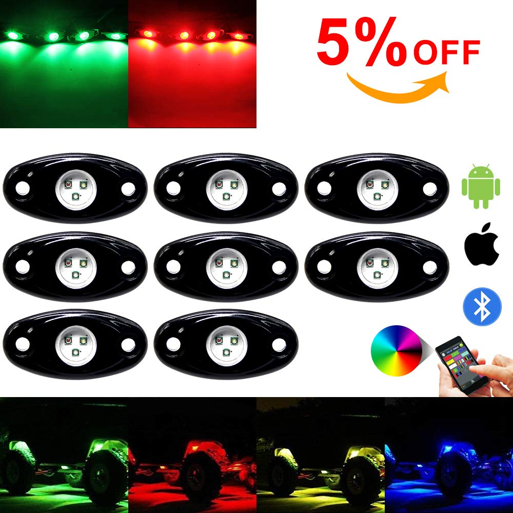 12pod OPL5 12 Pod RGB Led Rock Lights Kits with Bluetooth Control Waterproof Neon Lights for Offroad Car Jeep Off Road Truck SUV ATV Motorcycle