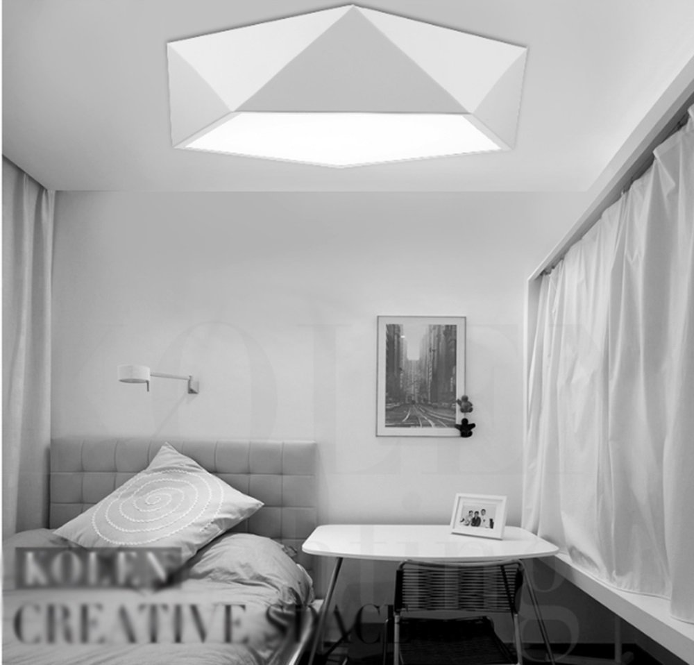 Einfache Kontur-Geometrie-Decken-Lampen LED-moderne minimalistische kreative Fernsteuerungs-Schlafzimmer-Lichter Warm atmosphärische Lampen (Farbe   Weiß-42cm Warm Light)
