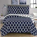 King Size Comforter Sets 110 X 96 Navy and White Meridian King / California-King Coverlet 3pc set, Oversized Luxury Microfiber Printed Quilt by Royal Hotel