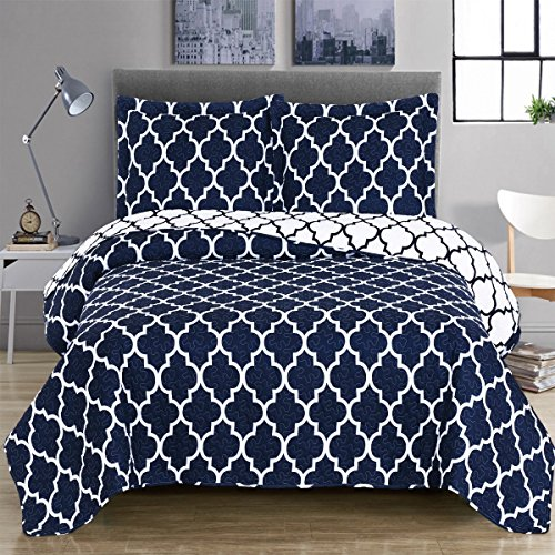 Navy and White Meridian King / California-King Coverlet 3pc set, Oversized Luxury Microfiber Printed Quilt by Royal Hotel