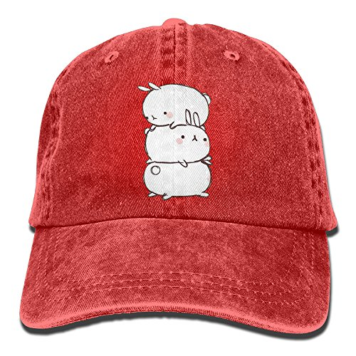 Uanqunan Three Cute Fat Rabbits Unisex Cotton Denim Baseball Cap Adjustable Strap Low Profile Plain Hats Red (Denim And Diamonds Outfit Ideas)