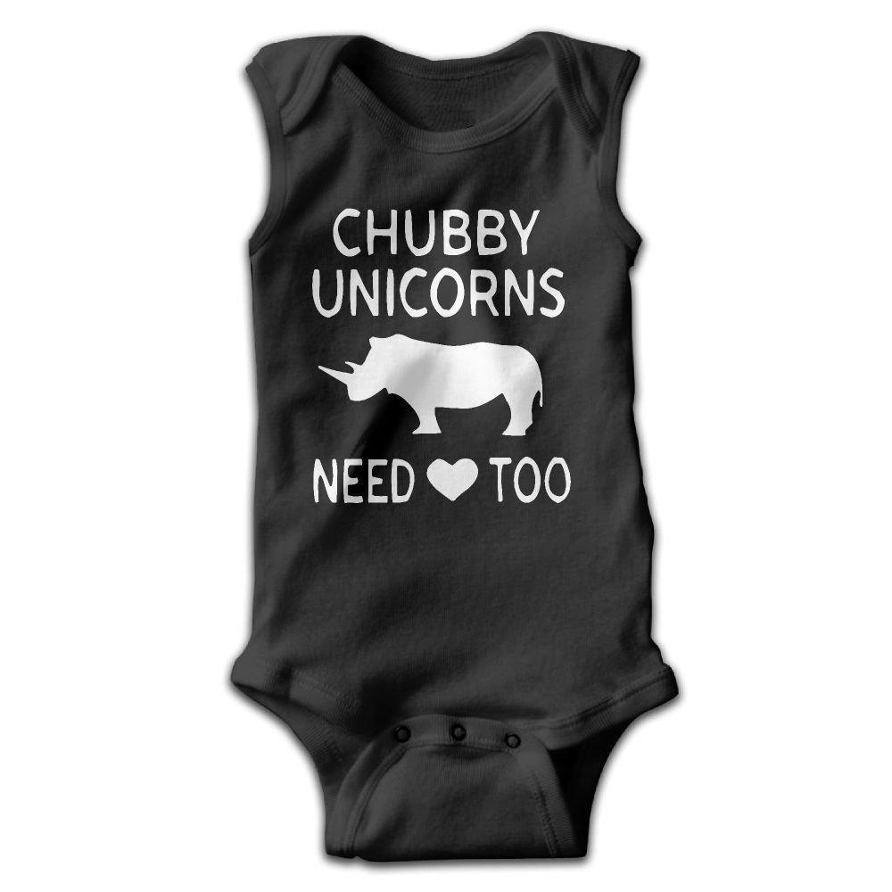 Chubby Unicorn Need Love Too Infant Baby Boys Girls Crawling Suit Sleeveless Romper Bodysuit Onesies Jumpsuit Black
