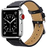 Apple Watch Band 42mm, Marge Plus Genuine Leather iwatch Band Replacement Strap with Stainless Metal Clasp for Apple Watch Series 3 Series 2 Series 1 Sport and Edition -- Black