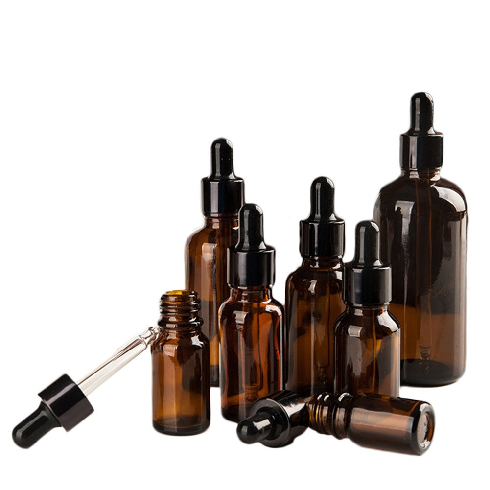 Chytaii 6pcs*50ml Botella de Aceite Esencial Pipetas 50ml Botella Cuentagotas Botellas Cosméticas Portátiles Botellas de Vidrio Protección UV