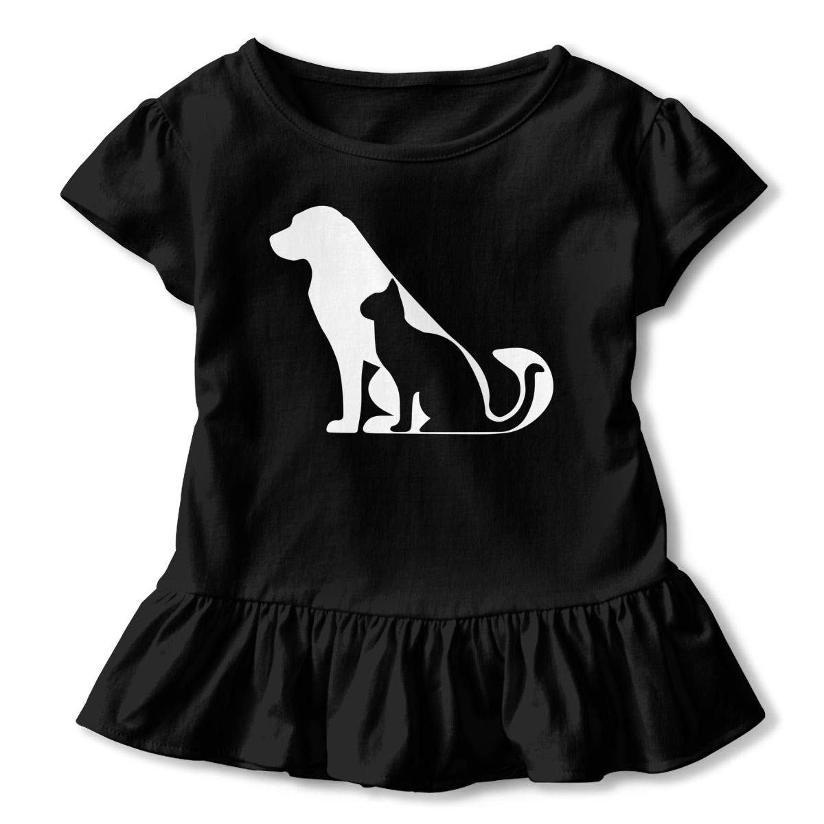 Life is Better with Dogs and Cats Kids Girls Short Sleeve T Shirts Ruffles Shirt Tee Jersey for 2-6T