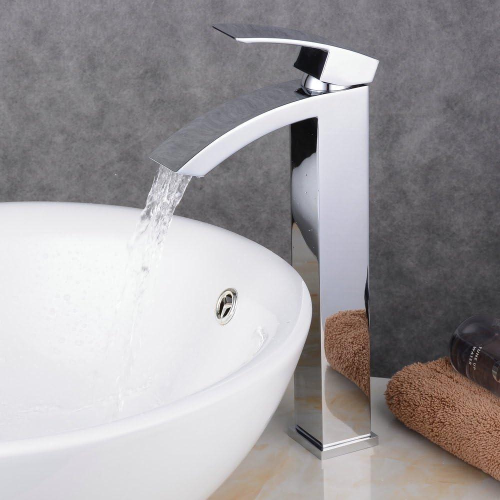 Beelee BL0531H Modern Hohe Wasserfall armatur Waschtischarmatur Chrom Einhebel Waschbecken Wasserhahn Mischbatterie Badarmatur f.Badzimmer