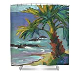 Pixels Shower Curtain (74'' x 71'') ''Sea Breeze''