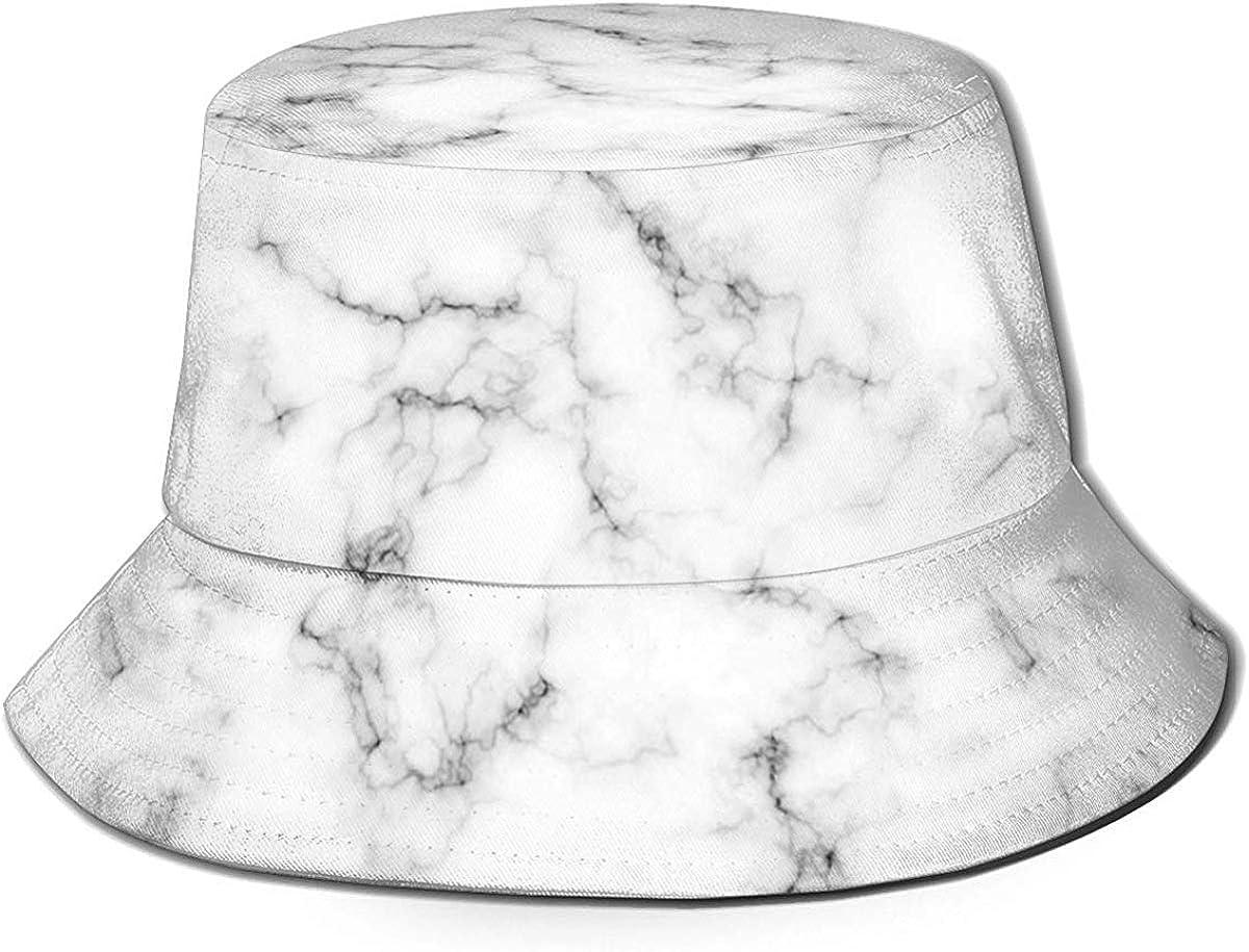 Xarchy Unisex Bucket Hat Marble Design Pattern Printed Outdoor Sun Hat Summer Travel Outdoor Cap Black