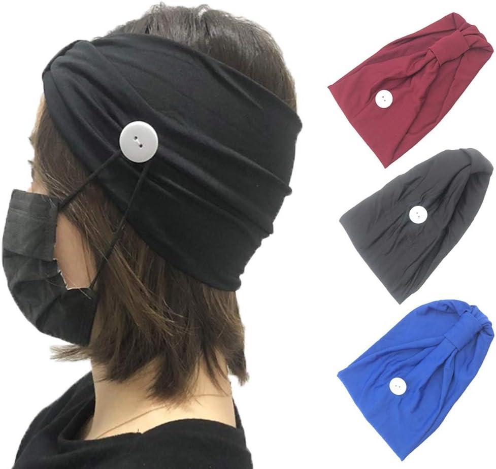 para yoga Zoestar Boho para entrenamiento diademas anchas con botones color azul turbante el/ástico para mujeres y ni/ñas