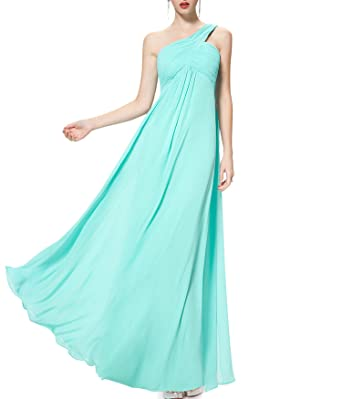 Evening Dresses Ever Pretty One Shoulder Ruffles Padded Special Occasion Weddings Events Long Dress,Aqua