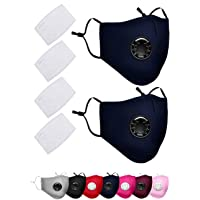 2 Pack PM 2.5 Air Pollution Masks with 4 Air Filter Cotton Sheet Washable Reusable Anti Dust Smoke Face Mask Respirator with Adjustable Straps-Dark Blue