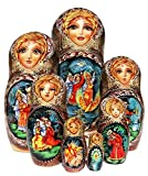 Magic Feather Russian 7-piece Nesting Doll in Doll Fairy Tale Legend Folklore Matryoshka. Exclusive and One-of-a-kind Babushka by GreatRussianGifts. Signed by Artist.