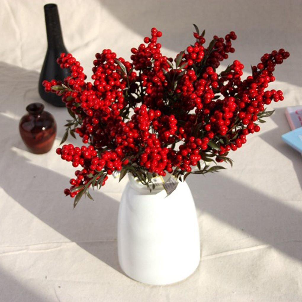 MUANI Haricots Fleurs artificielles Plantes Baies Bouquet de Noël Propice Décoration intérieure