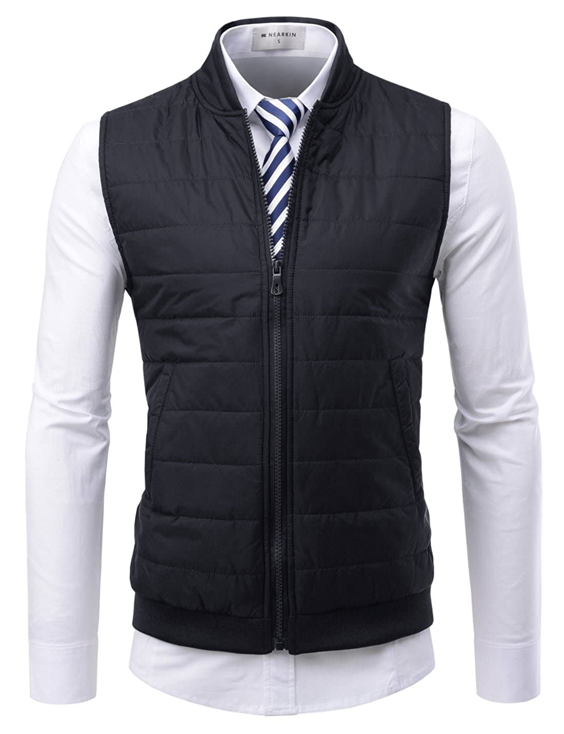 NEARKIN Mens Daily Light Warmer Quilting Zip-up Slim Fit Waistcoat
