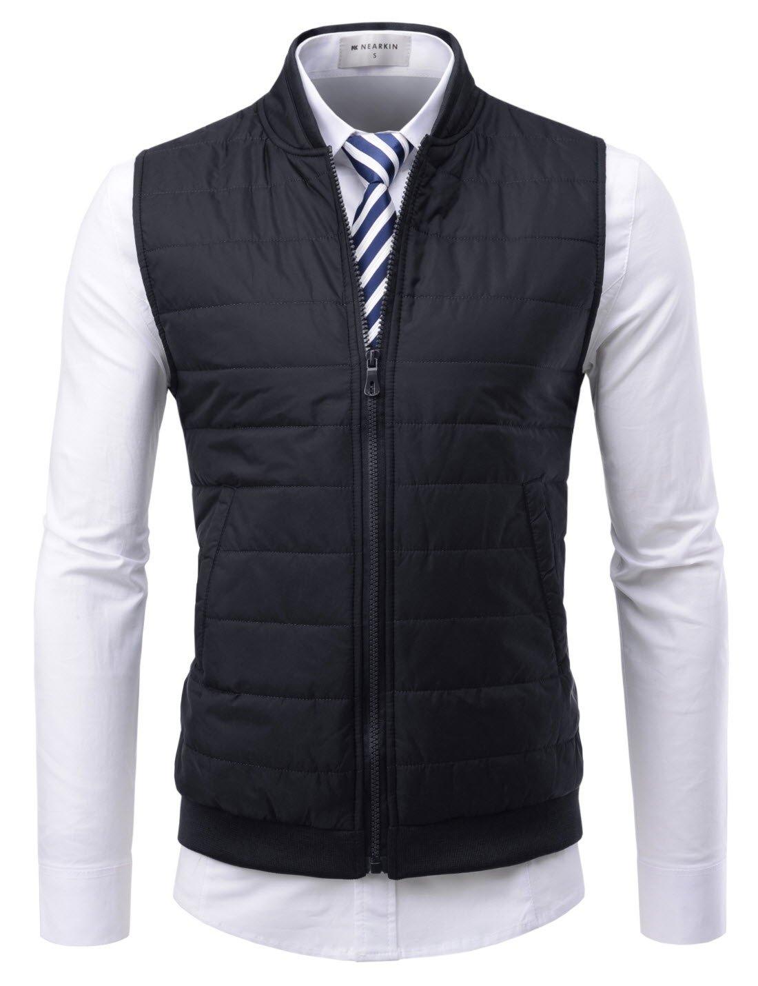 NEARKIN (NKNKPVE2) Mens Daily light warmer Dandy Business Look Zip-up Slim fit Waistcoat BLACK US L(Tag size XL) by NEARKIN