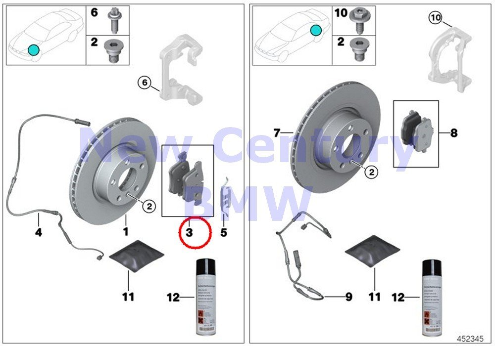 BMW Genuine Front Brake Pads Asbestos-Free Repair Kit X3 28dX X3 28i X3 28iX X3 35iX X4 28iX X4 35iX