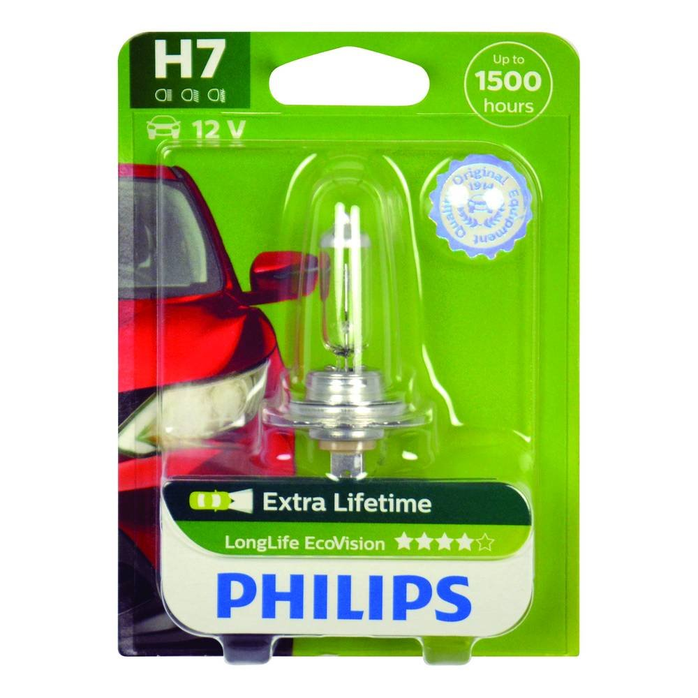 Philips LongLife EcoVision H7 12972LLECOS2 Headlight Bulb Kit with 2 Bulbs  - white/clear