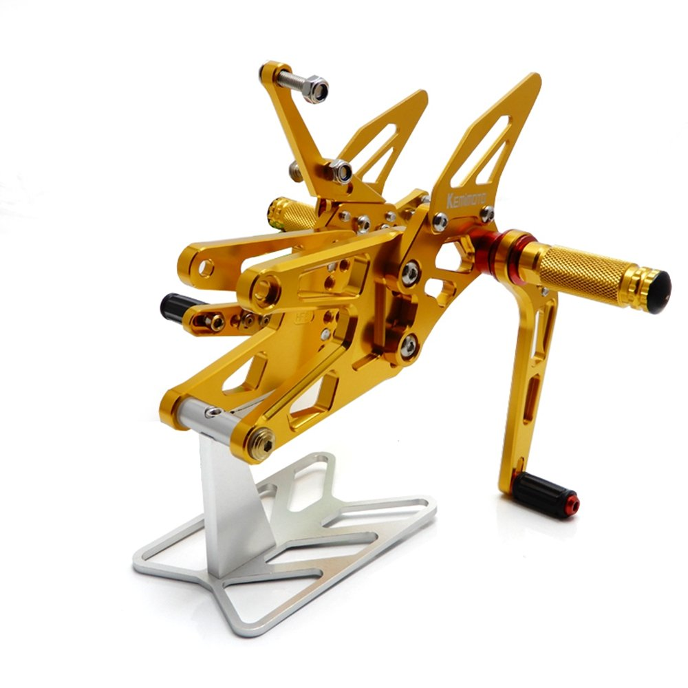 KEMIMOTO, 2003 2004 2005 R6 Rearsets Rear Sets Footpegs CNC Adjustable for Yamaha YZF-R6 03 04 05