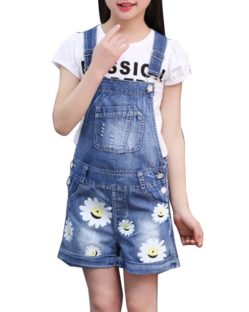 GladiolusA Ragazza Bambina Denim Salopette Pantaloncini Tuta Corta Pagliaccetto Jumpsuit Jeans Tuta + Manica Corta T-Shirt