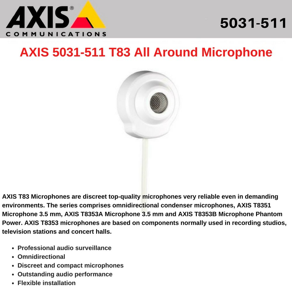 Axis Communications 5031-511 T8351 MICROPHONE 3.5MM OMNIDIRECTIONAL 3.5MM JACK