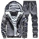 Men's Pullover Winter Tracksuit Soft Hooed Fleece Thick Hoodies Sweat Suits Warm Coats Dark Grey-L