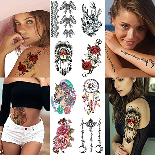 8 Sheets Body Art Temporary Tattoo Stickers for Women Girls Adults Models Teens - Sexy Tribal Designs Rose Flowers Unicorn Dreamcatcher Deer Black Lace Bowknot Words Moon For Arms Shoulder Back Breast -