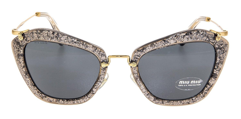 395009784de67 Amazon.com  MIU MIU NOIR MU10NS Grey Smoke Glitter Gold Sunglasses 10N  Geometric Mirrored Women  Clothing