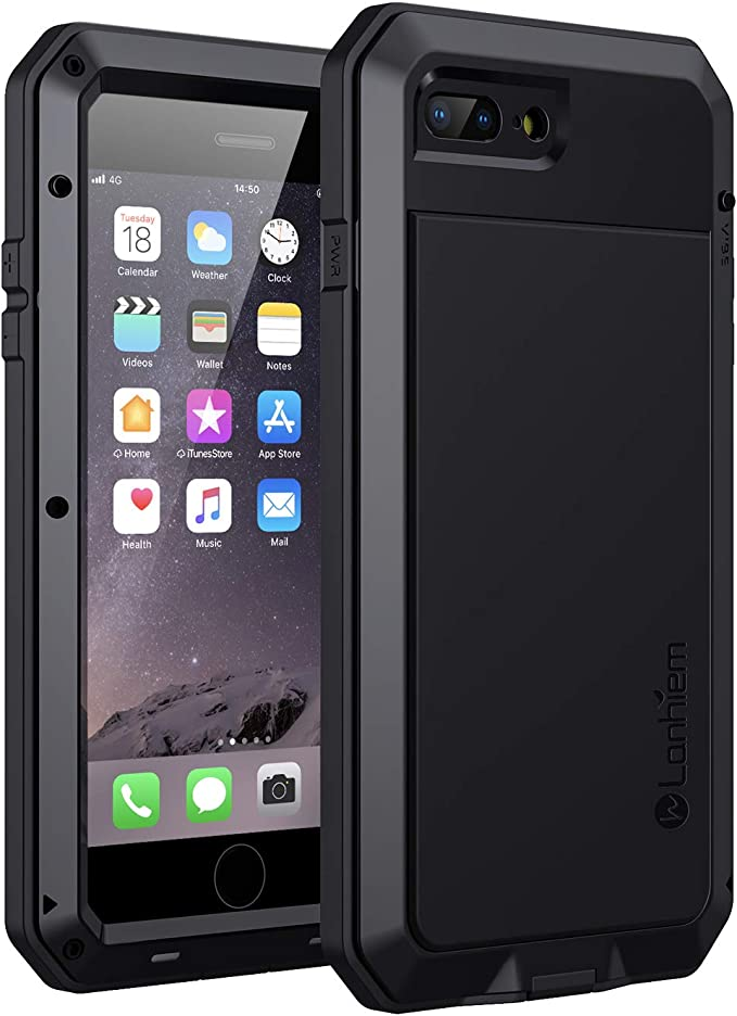 Lanhiem iPhone 7 Plus / 8 Plus Case, Heavy Duty Shockproof [Tough Armour] Metal Case with Built-in Screen Protector, 360 Full Body Protective Cover, ...