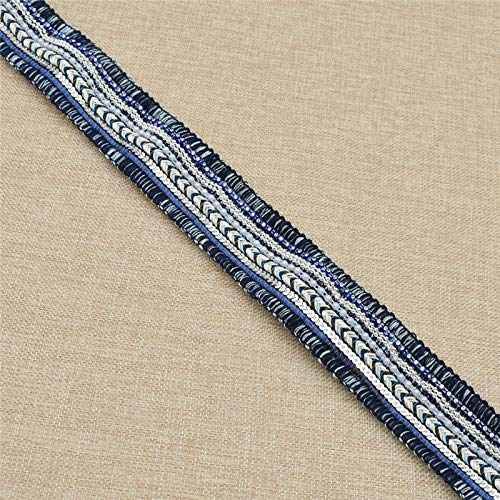 (3Yards Beaded Crocheted Lace Artificial Pearl DIYDecor Crafts Sewing Dress (Color - Dark)