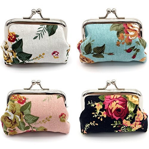 men Girl Canvas Floral Coin Purse Clutch Pouch Wallet Value Set ()