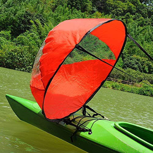 - RENHAIGY Tandem Clear Kayak Wind Sail Kit Downwind Paddle Popup Board Inflatable Foldable Canoe Boats Accessories 42 Inches Durable Surfing Easy Setup Deploys Quickly Compact Portable