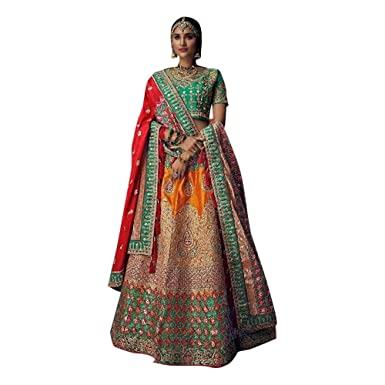 a895a6bc8e Amazon.com: Red Bridal Handwork Indian Royal Pure Silk Heavy Bride's ...