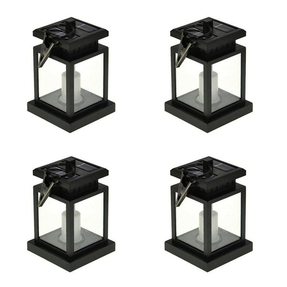 Solar Umbrella Lantern JLTPH Pack of 4 Solar Powered LED Waterproof Candle Lamp with Clamp/ Garden, Yard Decoration and Lighting/ Flashing Yellow