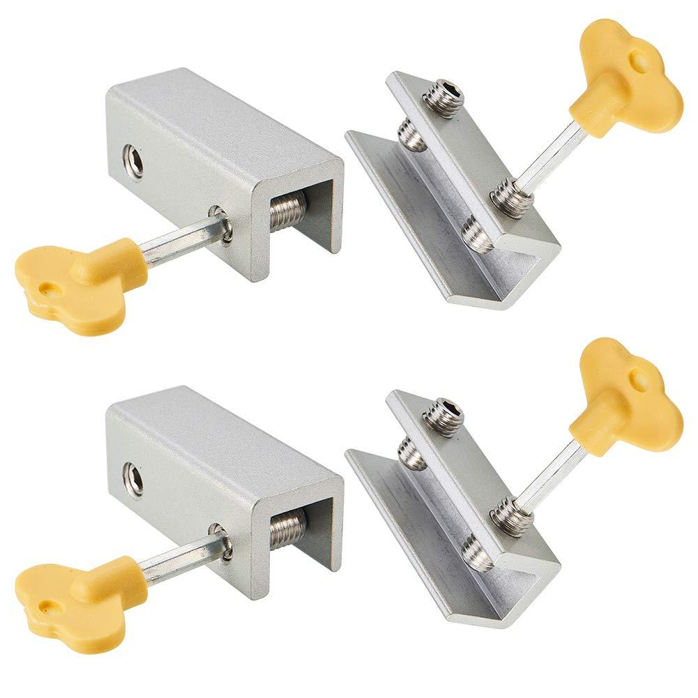 INCREWAY 4 Sets Adjustable Sliding Window Locks Stops Alloy Door Frame Security Lock with Keys(Double Lock)