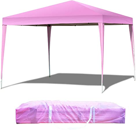 Tangkula 10/'X10/' Outdoor Tent Party Wedding Canopy Gazebo Shelter Tent with Carry Bag EZ Pop Up Portable Lightweight Canopy Tent Instant All Weather Pink Height Adjustable