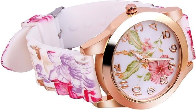 YESURPRISE Montre Bracelet Quartz Silicone Style Fleur Femme