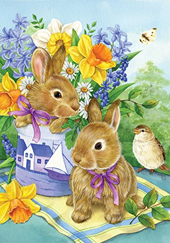 Toland Home Garden Bunny Bouquet 12.5 x 18 Inch Decorative Spring Easter Daffodil Flower Garden Flag