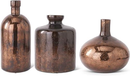 K K Interiors 14043A-SIBZ Set of 3 Antique Bronze Glass Bottle Vases Grad Size