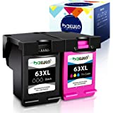 batuto Remanufactured for HP 63 63xl (1Black, 1Tri-Color ) Replacement Ink Cartridge 63 XL for HP OfficeJet 3830 4650 5255 46